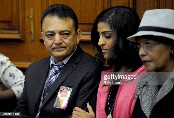 Murdered tourist Anni Dewani's father Vinod Hindocha and Anni's niece attend the Western Cape High Court where suspect Xolile Mngeni appears in...