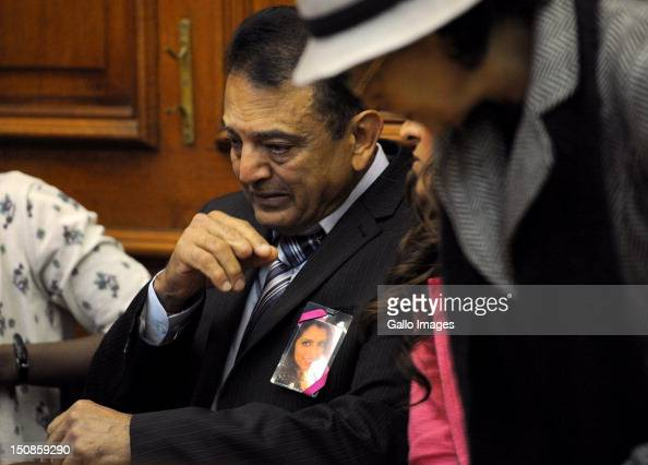 Murdered tourist Anni Dewani's father Vinod Hindocha attends the Western Cape High Court where suspect Xolile Mngeni appears in connection with the...