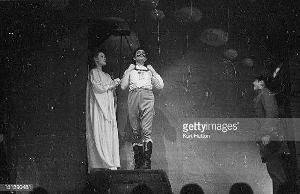 A murderer's vision in a scene from moral domestic drama 'Maria Marten' murderer William Corder is bid farewell by his victim Maria at the gallows...