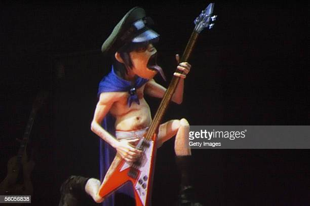 Murdoc of the Gorillaz rehearses ahead of the MTV Europe Music Awards 2005 at the Atlantic Pavillion on November 1 2005 in Lisbon Portugal