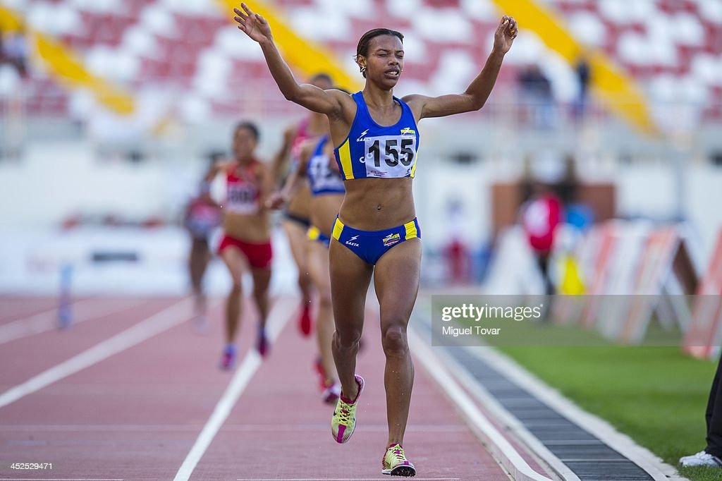 Muriel Coneo of Colombia wins in women's 3,000m steeplechase final as part of the XVII Bolivarian Games Trujillo 2013 at Chan Chan Stadium on November 29, 2013 in Trujillo, Peru.