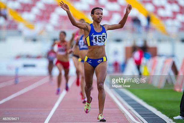 Muriel Coneo of Colombia wins in women's 3000m steeplechase final as part of the XVII Bolivarian Games Trujillo 2013 at Chan Chan Stadium on November...