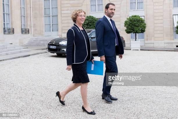 Muriel Penicaud France's minister for labour left and Christophe Castaner France's government spokesman depart following a cabinet meeting to approve...