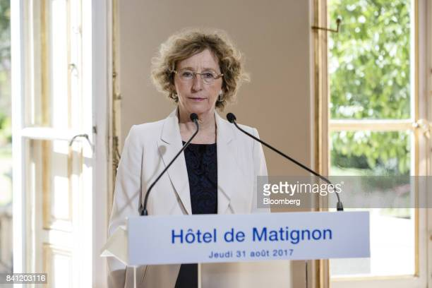 Muriel Penicaud France's minister for labour speaks during a news conference at the official residence of France's Prime Minister Edouard Philippe in...