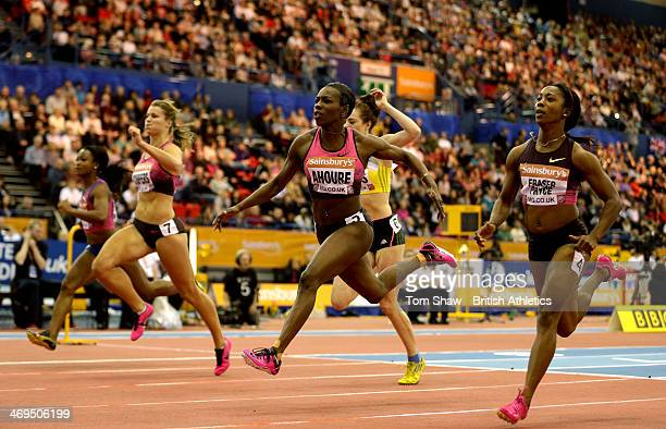 Murielle Ahoure of the Ivory Coast crosses the line to win the womens 60m final during the Sainsbury's Indoor Grand Prix at the National Indoor Arena...