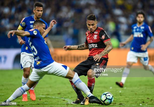 Murilo of Cruzeiro struggles for the ball with Guerrero of Flamengo during a match between Cruzeiro and Flamengo as part of Copa do Brasil Final 2017...