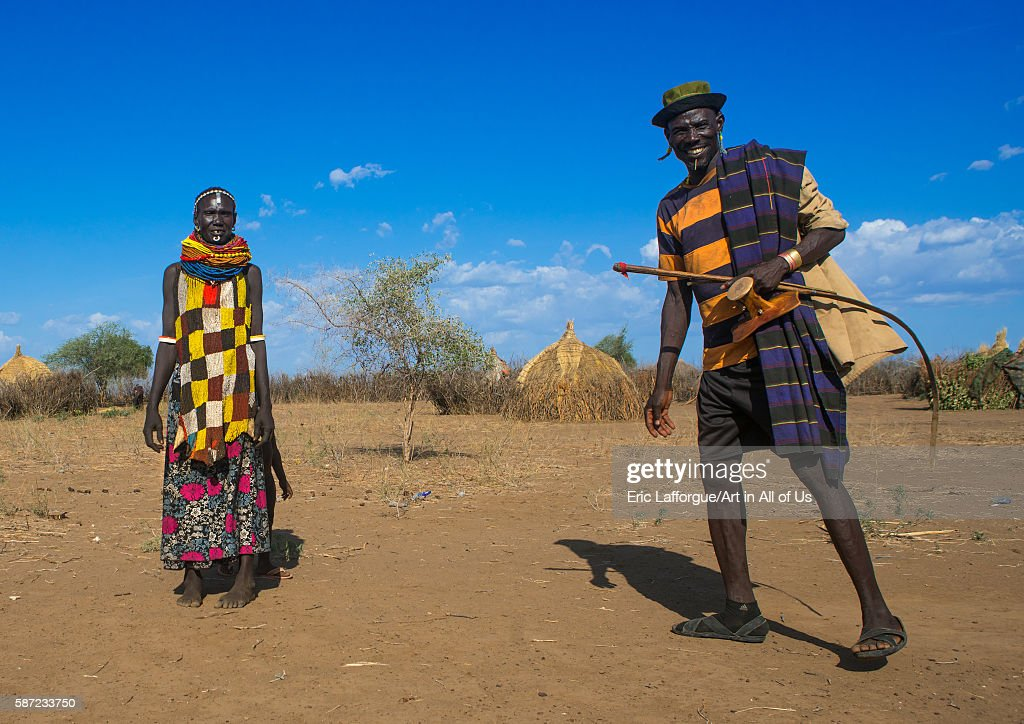 Murle tribe couple in a village omo valley kangate Ethiopia on March 15 2016 in Kangate Ethiopia
