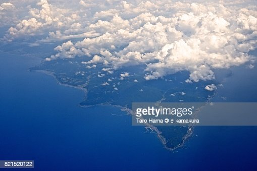 Muroto Cape and Muroto city in Kochi prefecture daytime aerial view from airplane : ストックフォト