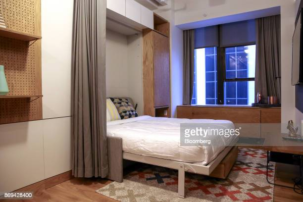 A murphy bed is seen in a studio apartment at the WeLive building in New York US on Tuesday Oct 31 2017 The first two WeLive buildings in New York...