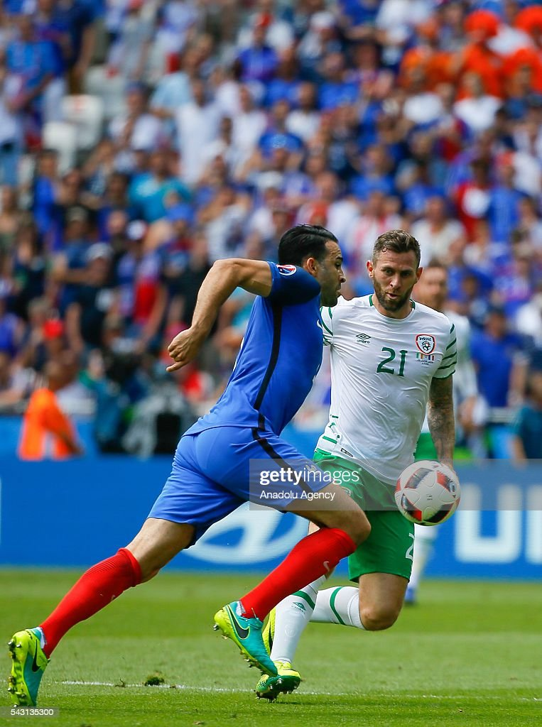 Murphy (21) of Ireland in action during the UEFA Euro 2016 Round of 16 football match between France and Ireland at the Stade de Lyon in Lyon, France on June 26, 2016.