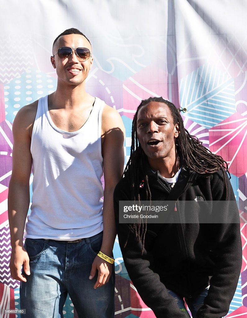 Murphy Ranking Jnr and Ranking Roger of The Beat pose backstage during BT London Live at Hyde Park on August 1, 2012 in London, United Kingdom.