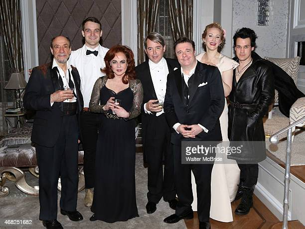F Murray Abraham Micah Stock Stockard Channing Matthew Broderick Nathan Lane Katie Finneran and TR Knight during a backstage champagne celebration to...