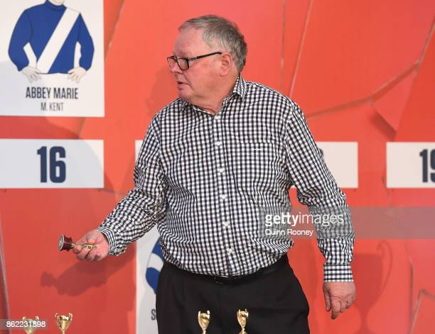 Murray Baker draws a barrier for Bonneval during the Caulfield Cup Barrier Draw at Caulfield Racecourse on October 17 2017 in Melbourne Australia