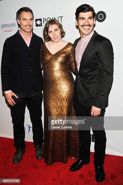 Murray Bartlett Lena Dunham and Raul Castillo attend the 2014 Point Honors New York gala at New York Public Library on April 7 2014 in New York City