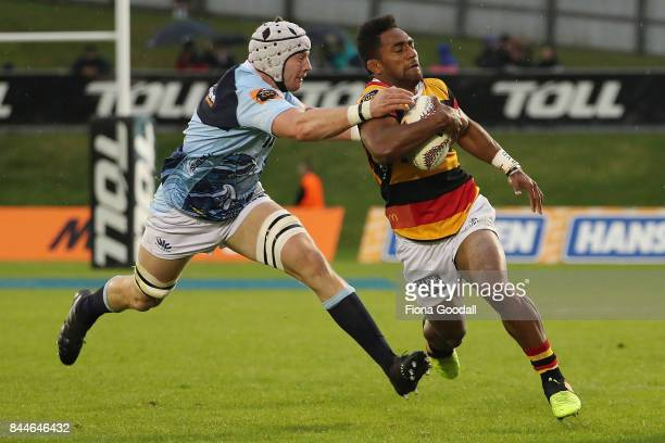 Murray Douglas of Northland tackles Sevu Reece of Waikato during the round four Mitre 10 Cup match between Northland and Waikato at Toll Stadium on...