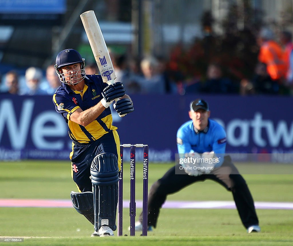 <a gi-track='captionPersonalityLinkClicked' href=/galleries/search?phrase=Murray+Goodwin&family=editorial&specificpeople=217276 ng-click='$event.stopPropagation()'>Murray Goodwin</a> of Glamorgan hits out during the Natwest T20 Blast match between Sussex Sharks and Glamorgan at The BrightonAndHoveJobs.com County Ground on July 15, 2014 in Hove, England.