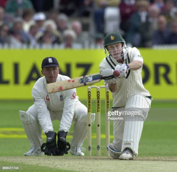 Murray Goodwin of Zimbabwe attacks the bowling of Chris Schofield of England during the Second Cornhill Test match between England and Zimbabwe at...