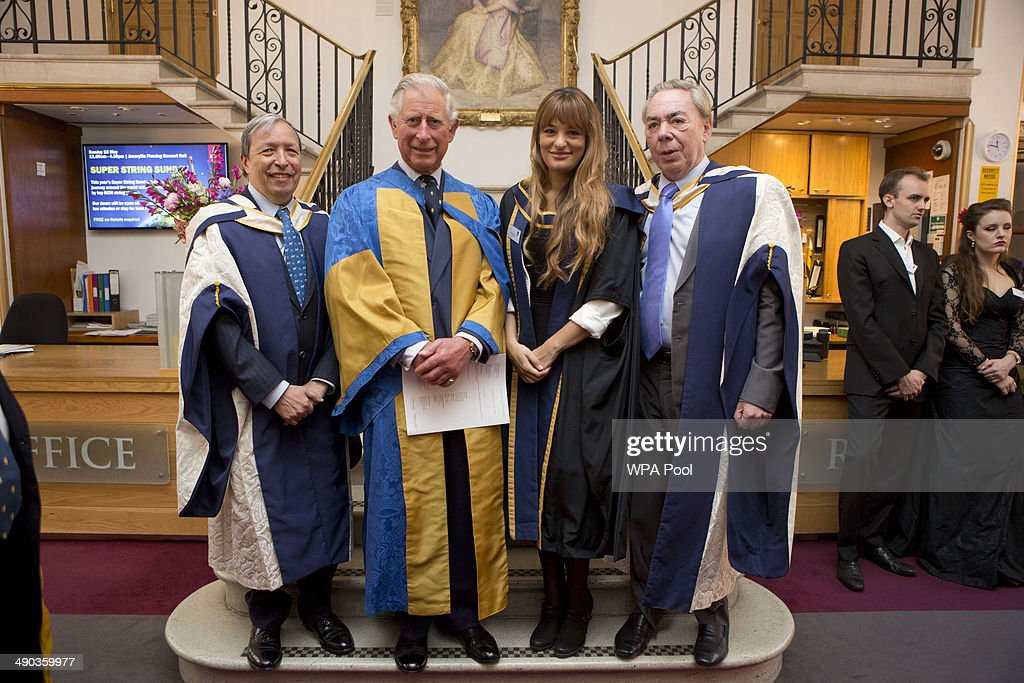Murray Perahia, <a gi-track='captionPersonalityLinkClicked' href=/galleries/search?phrase=Prince+Charles&family=editorial&specificpeople=160180 ng-click='$event.stopPropagation()'>Prince Charles</a>, Prince of Wales, President of the Royal College of Music, <a gi-track='captionPersonalityLinkClicked' href=/galleries/search?phrase=Nicola+Benedetti&family=editorial&specificpeople=240146 ng-click='$event.stopPropagation()'>Nicola Benedetti</a> and <a gi-track='captionPersonalityLinkClicked' href=/galleries/search?phrase=Andrew+Lloyd+Webber&family=editorial&specificpeople=157705 ng-click='$event.stopPropagation()'>Andrew Lloyd Webber</a> during the Royal College of Music annual awards ceremony on May 14, 2014 in London, England.