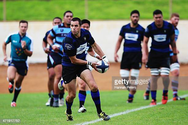 Murray Williams of Ponsonby passes the ball out during the club rugby game between Ponsonby and Marist at Western Springs Stadium on May 2 2015 in...