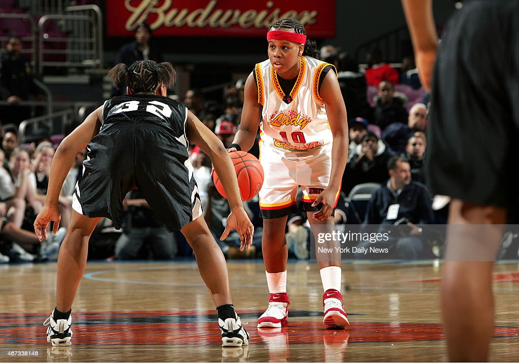 Murry Bergtraum's Epiphanny Prince brings the ball up the court during the 2nd half of the PSAL Championship game between Murray Bergtraum and...