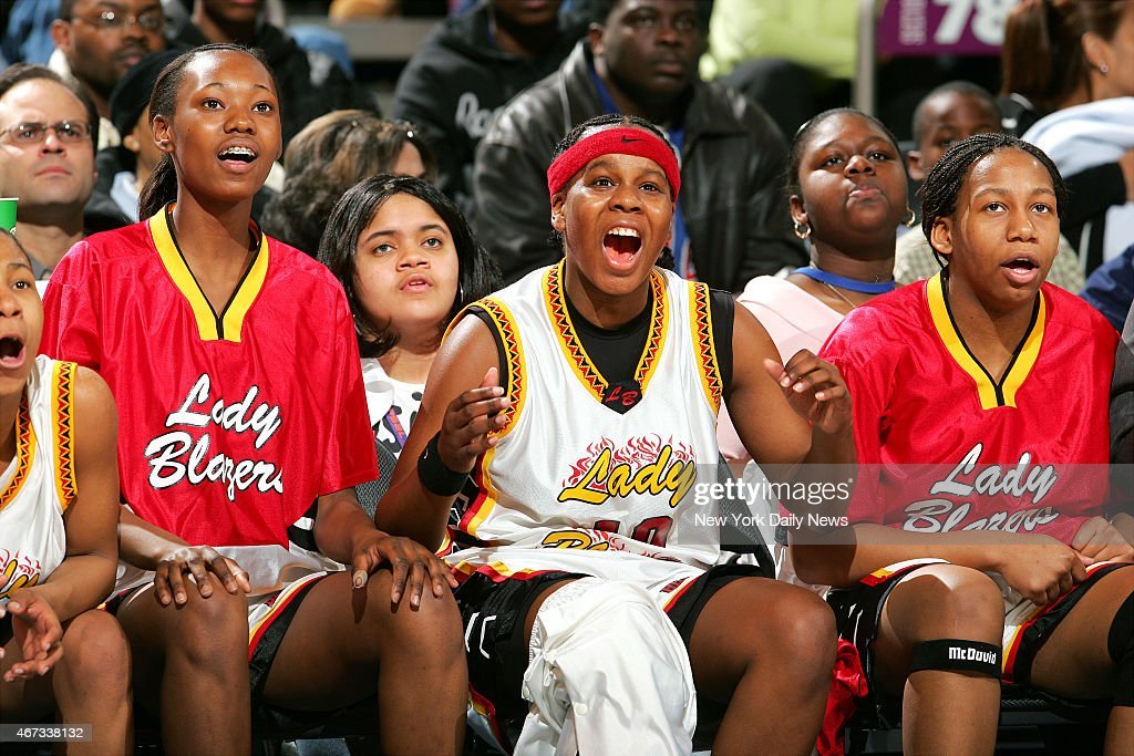 Murry Bergtraum's Epiphanny Prince cheers on her teamates at the end of the 2nd half of the PSAL Championship game between Murray Bergtraum and...