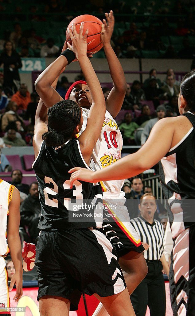 Murry Bergtraum's Epiphanny Prince puts up a host in traffic during the 2nd half of the PSAL Championship game between Murray Bergtraum and Francis...