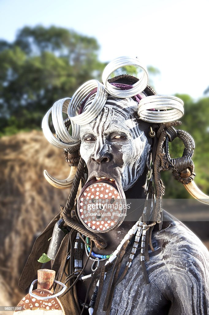 Mursi woman with clay lip plate : Stock Photo