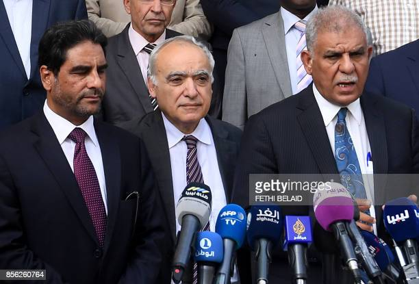 Musa Faraj chairman of the Libyan government dialogue committee speaks during a press conference with Ghassan Salame special representative to the...