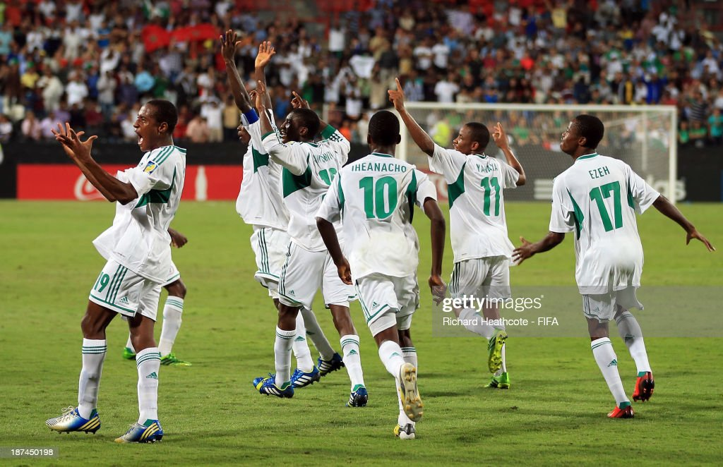 Musa Muhammed of Nigeria celebrates scoring the third goal during the FIFA U-17 World Cup UAE 2013 Final between Nigeria and Mexico at the Mohamed Bin Zayed Stadium on November 8, 2013 in Abu Dhabi, United Arab Emirates.