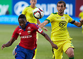 Musa of PFC CSKA Moscow challenged by Ali Gadzhibekov of FC Anzhi Makhachkala during the Russian Premier League match between PFC CSKA Moscow and FC...
