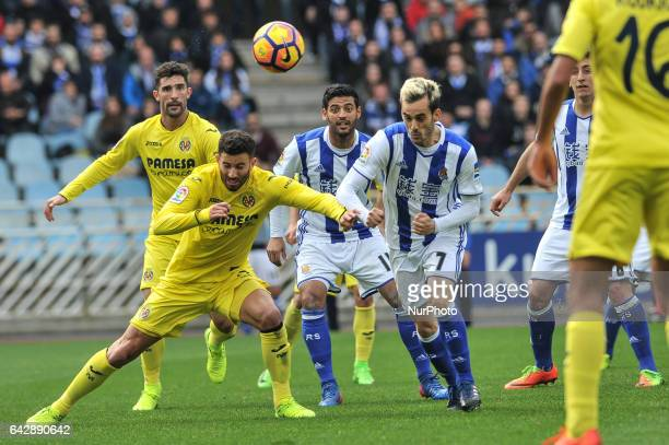 Musacchio and Alvaro of Villarreal duels for the ball with Carlos Vela and Juanmi of Real Sociedad during the Spanish league football match between...