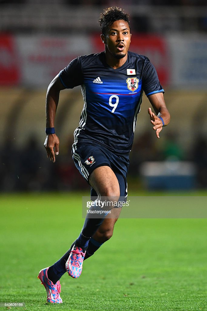 Musashi Suzuki of Japan in action during the U-23 international friendly match between Japan v South Africa at the Matsumotodaira Football Stadium on June 29, 2016 in Matsumoto, Nagano, Japan.