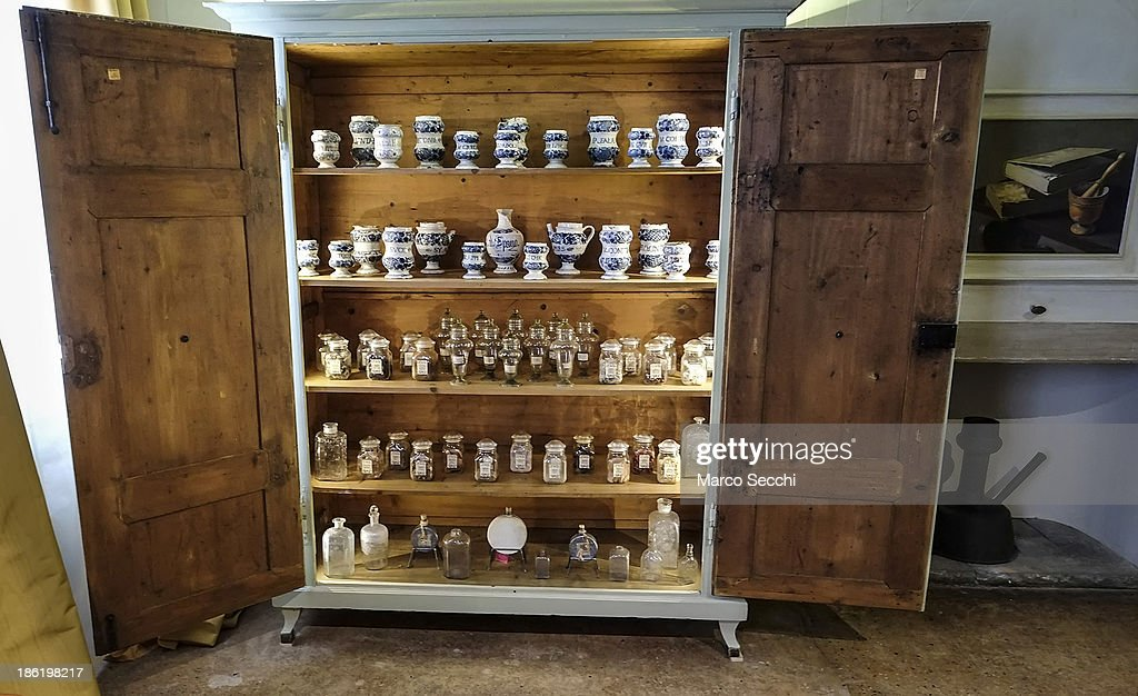 A 'Muschiere' (perfumer) cupboard with oils and essences on display after its reconstructed at the perfume exhibition on October 29, 2013 in Venice, Italy. The new perfume section at the Venetian Museum of eighteenth-century lifestyle Palazzo Mocenigo will open on the 1st of November.