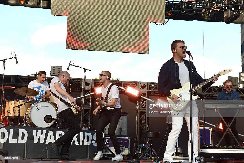 Muscians Joe Plummer Matt Maust David Quan and Nathan Willett of the band Cold War Kids perform onstage during KROQ's Weenie Roast at Irvine Meadows...