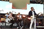 Muscians Joe Plummer Matt Maust David Quan and Nathan Willett of the band Cold War Kids perform onstage during KROQ's Weenie Roast at Irvine Meadows...