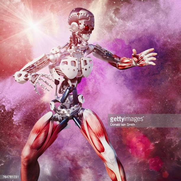 Muscles on cyborg in outer space