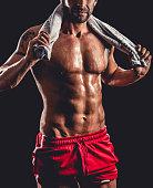 Muscular bodybuilder close-up
