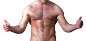 naked hairy muscular male torso with thumbs up