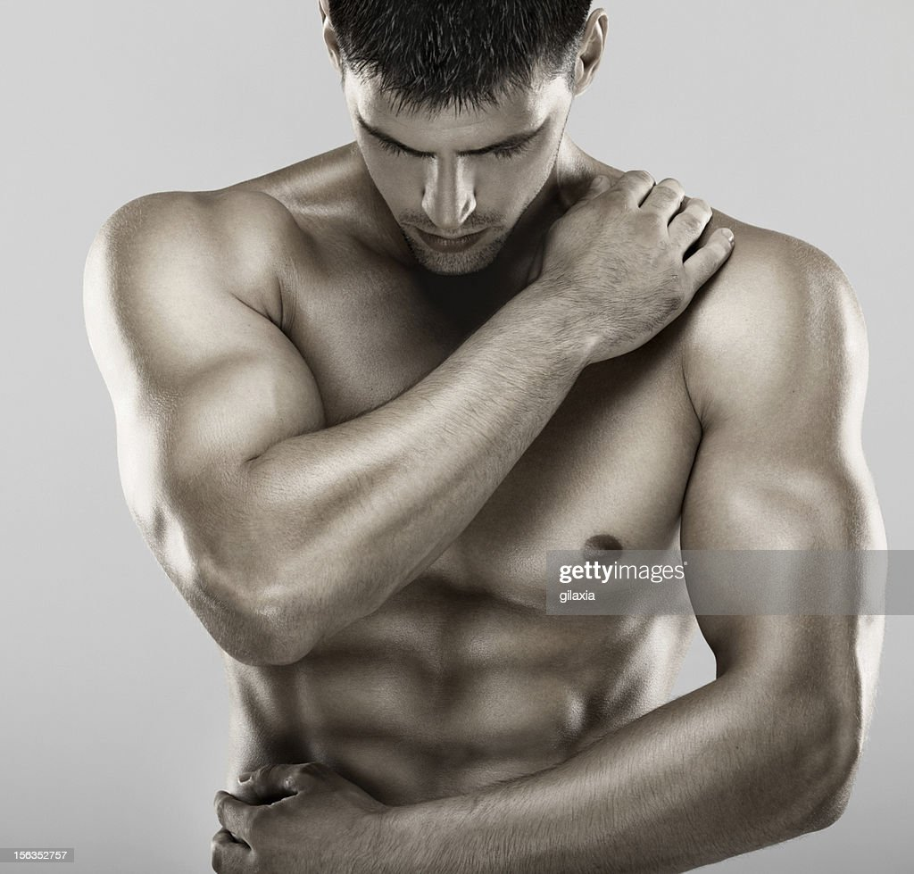Muscular male upper body. : Stock Photo