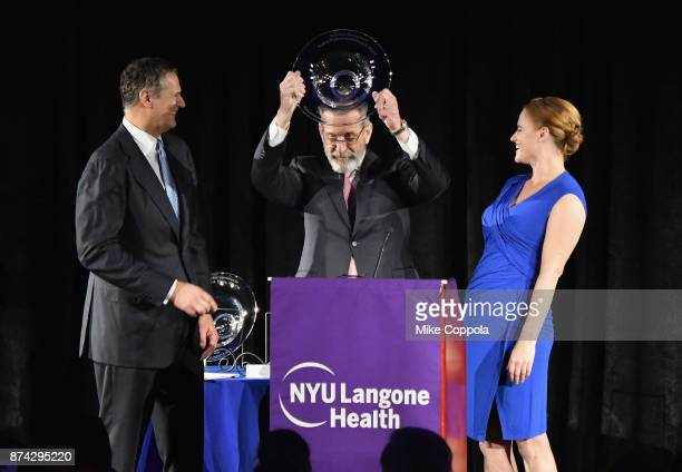 Musculoskeletal Ball Honorees Tarek A Sherif and Sophie Nicholson speak onstage with Dr Joseph Zuckerman during the NYU Langone Health's 2017...