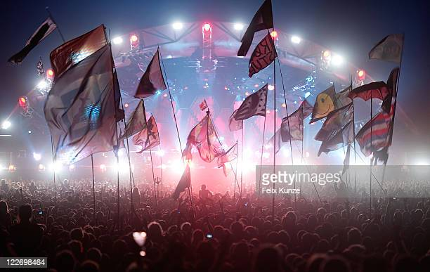 Muse performs on day 3 at the 40th Roskilde Festival on July 3 2010 in Roskilde Denmark