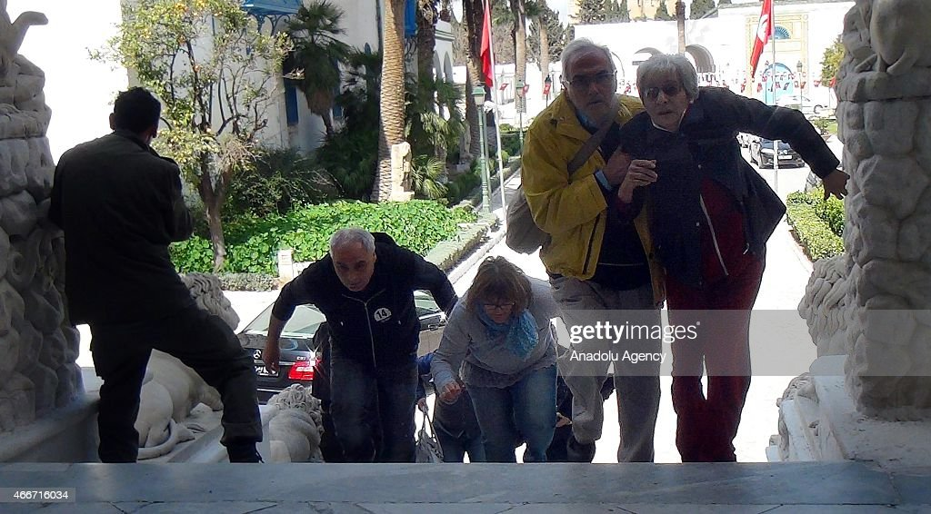 Museum attack hostages are seen after Tunisian Security forces start an operation as gunmen reportedly took hostages at the Bardo Museum in Tunis...