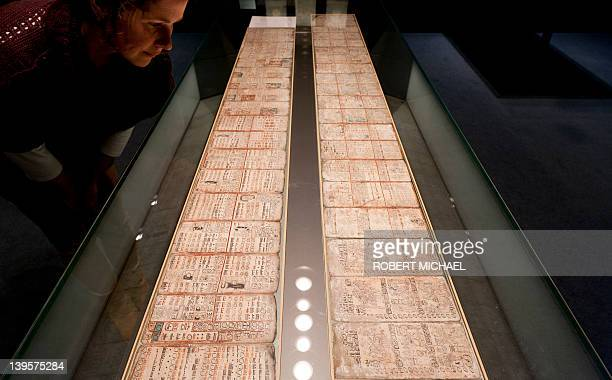 Museum employee Susan Steinert Marie looks at the historic Maya manuscript 'Codex Dresdensis' at the museum attached to Saxony's federal library on...