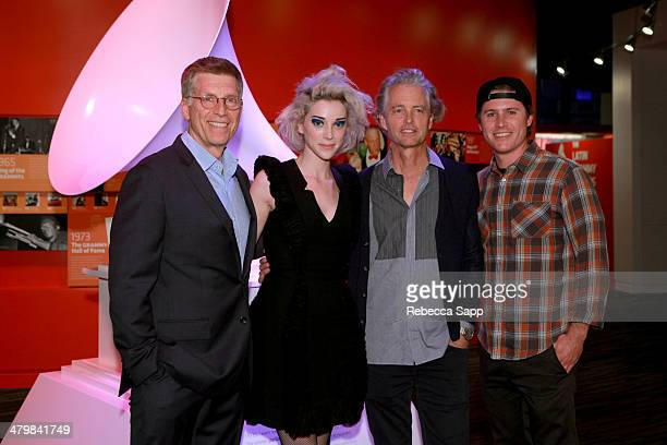 Museum Executive Director Bob Santelli and singer/songwriter Annie Clark aka St Vincent with Tom Whalley and Ryan Whalley of Loma Vista Records...