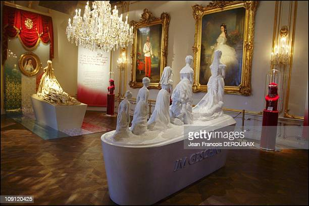 Museum Is Devoted To Empress Sissi In Hofburg Palace On May 1 2004 In Vienna Austria Grand Lounge At The Museum Portraits Of Sissi And FrancoisJoseph...