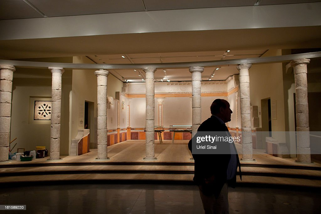A museum worker looks on before the opening of the 'Herod the Great' exhibition, at the Israel museum on February 12, 2013 in Jerusalem, Israel. The exhibition is devoted to the architectural legacy of King Herod, the Jewish proxy monarch who ruled Jerusalem and the Holy Land under Roman occupation two millennia ago.