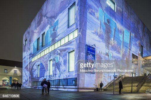 Museumsquartier (MQ), the Leopold museum during the Christmas period : Stock Photo