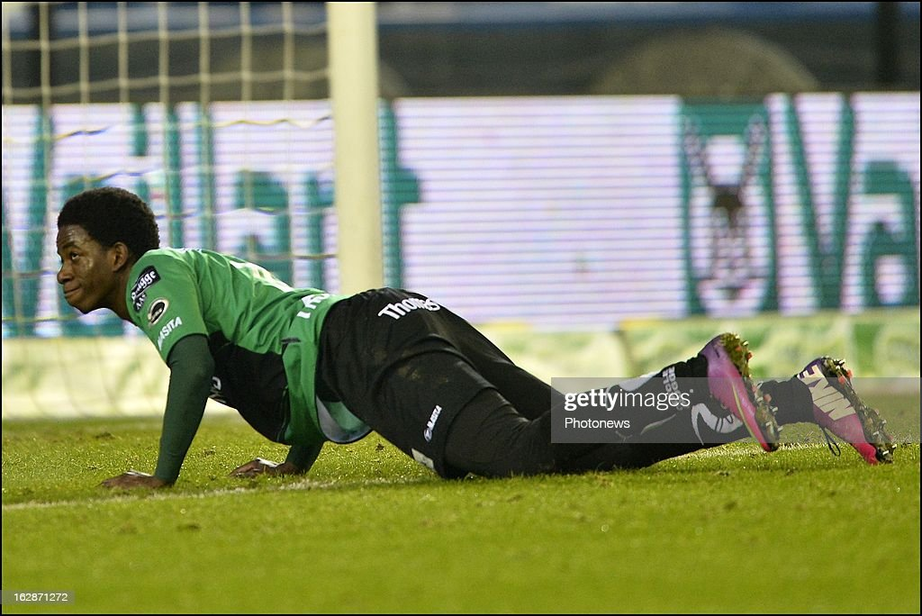 Mushaga Bakenga of Cercle Brugge looks dejected after a missed chance during the Jupiler League match between Cercle Brugge and Club Brugge on February 28, 2013 in Brugge, Belgium.