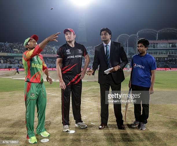 Mushfiqur Rahim captain of Bangladesh Jamie Atkinson captain of Hong Kong match referee Javagal Srinath and Pepsi mascot Salman at the coin toss...