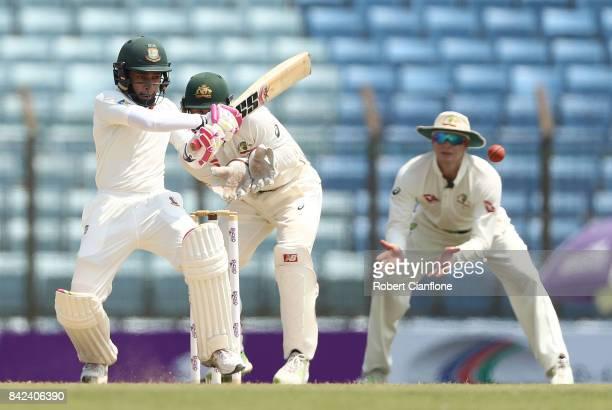 Mushfiqur Rahim of Bangladesh bats during day one of the Second Test match between Bangladesh and Australia at Zahur Ahmed Chowdhury Stadium on...